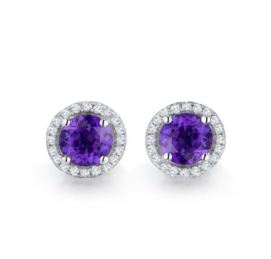 14kt Gold Natural Diamond Purple Amethyst Earrings - Medusa Jewels