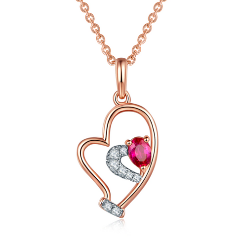 10K Rose Gold Ruby Heart Pendant