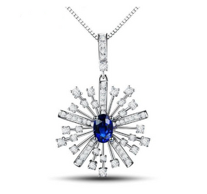 18Kt White Gold 0.52Ct Sapphire & Diamonds Pendant - Medusa Jewels