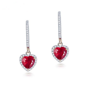 14k Yellow Gold Red Ruby Heart Earrings - Medusa Jewels