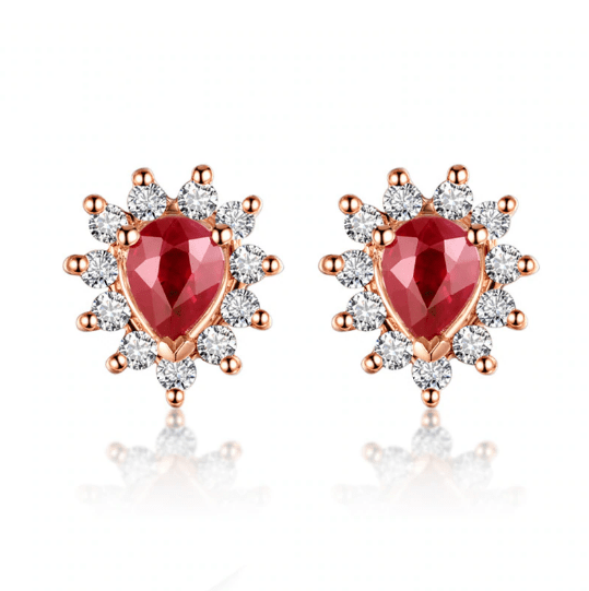 18K Rose Gold 0.35ct Ruby & 0.17ct Diamond Earrings - Medusa Jewels