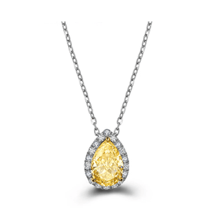 18K White Gold Yellow Diamond Cushion cut 0.6ct Choker Pendant - Medusa Jewels