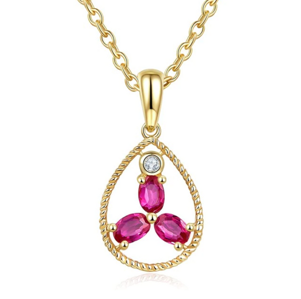 10K Rose Gold 9x17.5mm Ruby Pendant