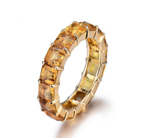 14k Yellow Gold Princess Citrine Wedding Band Ring - Medusa Jewels