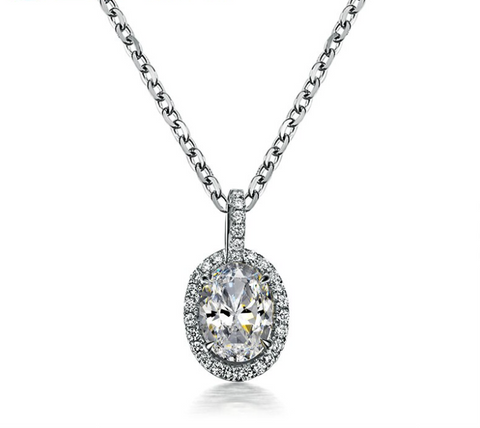 18K White Gold Oval 0.6Ct Diamond Pendant
