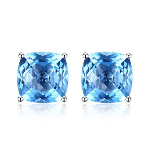 18K White Gold Au750 5.0 CT Blue Topaz Stud Earrings - Medusa Jewels