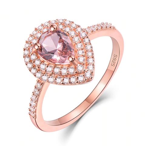 925 Sterling Silver Pear Morganite Ring