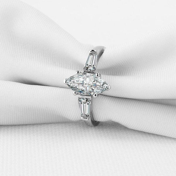 925 Sterling Silver 1Ct Marquise Cut Zircon Ring - Medusa Jewels