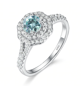 925 Sterling Silver Blue Moissanite Ring