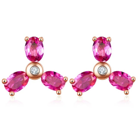 10K Rose Gold Oval Ruby Stud Earrings