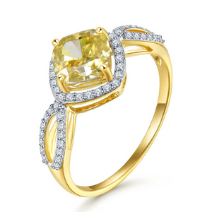 14K Yellow Gold Yellow Moissanite Ring