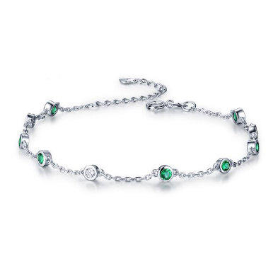 18k White Gold 5.3ct Emerald & 0.1ct Diamonds Bracelet - Medusa Jewels