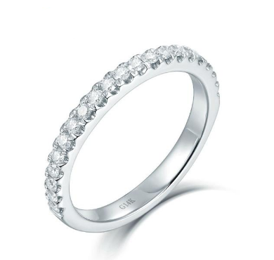 14Kt White Gold Half Eternity Diamond Wedding Band Ring - Medusa Jewels