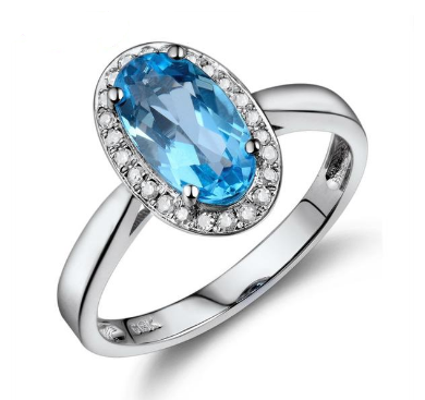 14k White Gold Vintage Natural Diamond Blue Topaz Ring - Medusa Jewels