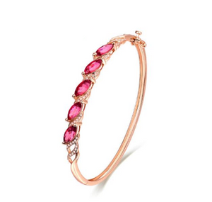 18K Rose Gold Marquise Tourmaline Gemstone Bracelets - Medusa Jewels