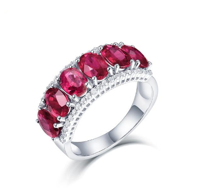 14Kt White Gold Natural Diamond Red Ruby Ring - Medusa Jewels