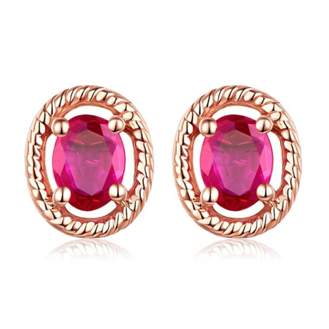 14K Rose Gold 0.14Ct Ruby Stud Earrings