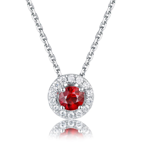 14K White Gold 0.44ct Ruby Pendant