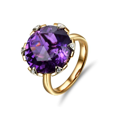 14k Two-Tone Gold 9.02ct Amethyst & Diamonds Ring - Medusa Jewels