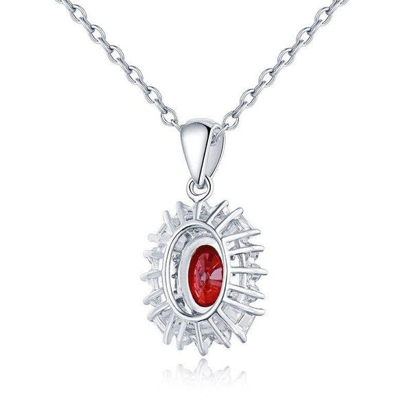 14K White Gold 0.37Ct Ruby Halo Pendant