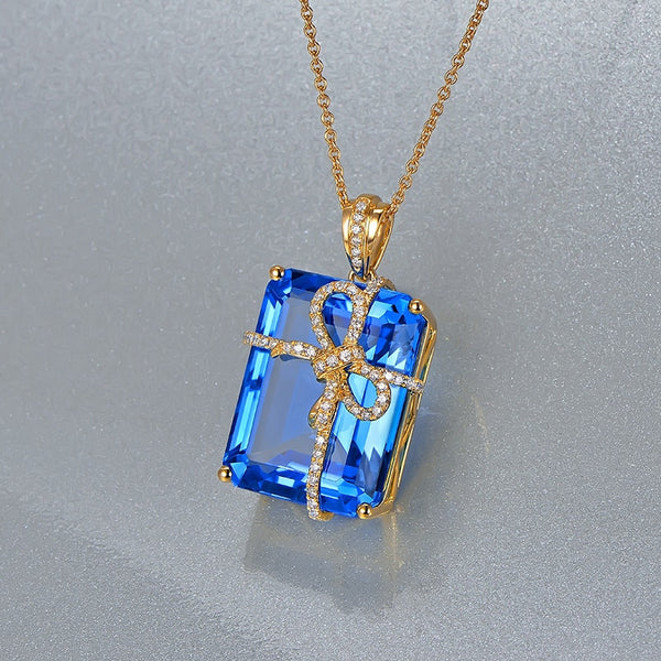 18K Yellow Gold 29.85ct topaz & 0.32ct Diamonds Pendant - Medusa Jewels