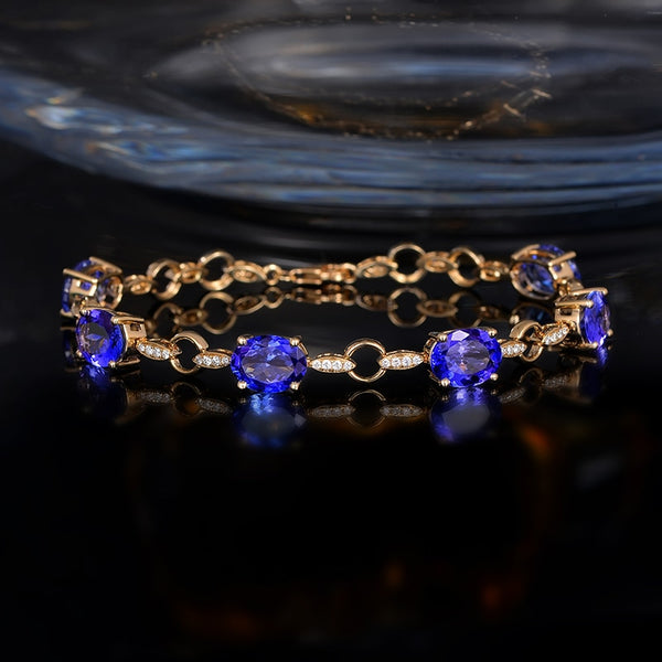 14K Yellow Gold 11.35Ct Blue Tanzanite Bracelet - Medusa Jewels