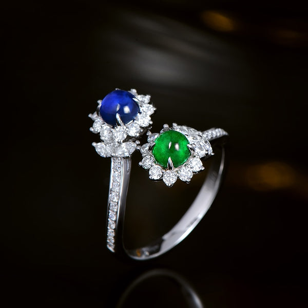 18K White Gold Cabochon Cut Emerald & Sapphire Ring - Medusa Jewels
