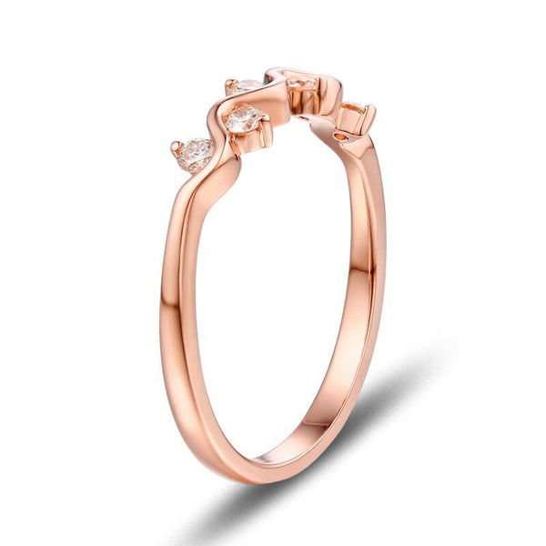 14K Rose Gold 0.23ct Diamond Ring - MEDUSA JEWELS