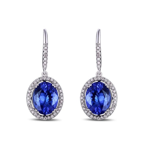 14K White Gold 4.89Ct Tanzanite Drop Earrings - MEDUSA JEWELS