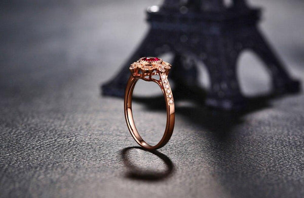 14K Rose Gold 0.59ct Ruby Ring