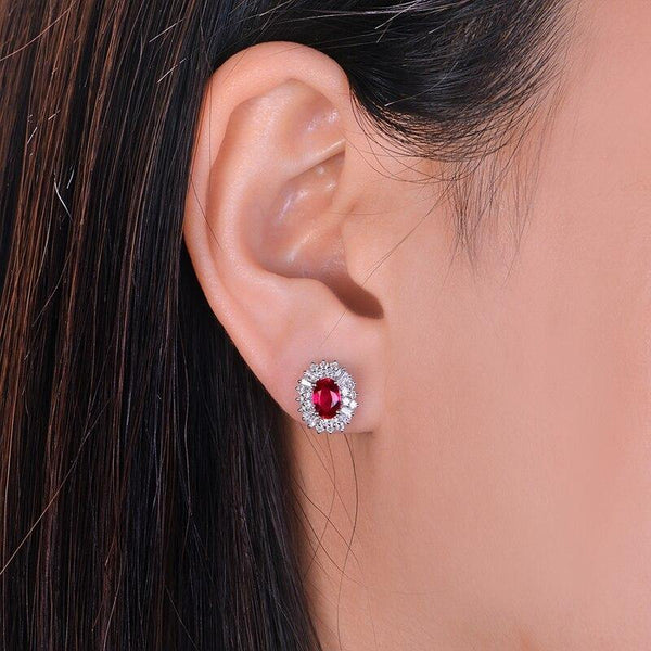 14K White Gold 1.18ct Ruby Earrings