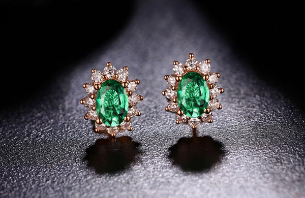 18K Rose Gold 1.40Ct Oval Emerald Stud Earrings