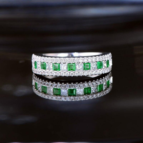 14K White Gold 0.87CTW Princess Cut Emerald Band Ring