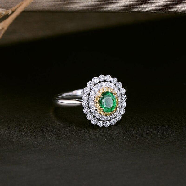 14K Two Tone Gold 0.31Ct Emerald Cluster Ring