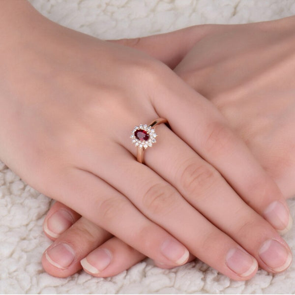 18K Rose Gold 0.73Ct Oval Ruby Ring