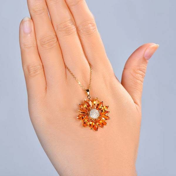 14K Yellow Gold 7.68Ct Marquise Citrine Pendant - Medusa Jewels