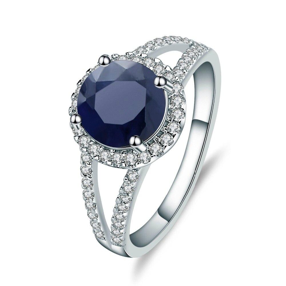 925 Sterling Silver 2.58Ct Round Blue Sapphire Ring - Medusa Jewels