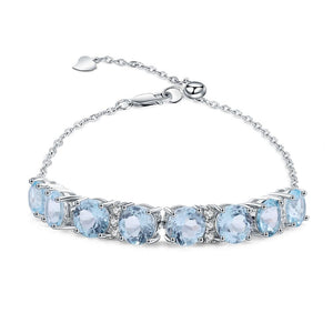 925 Sterling Silver 20.63Ct Blue Topaz Bracelet - Medusa Jewels