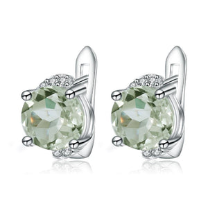 925 Sterling Silver 4.08t Green Amethyst Stud Earrings - Medusa Jewels