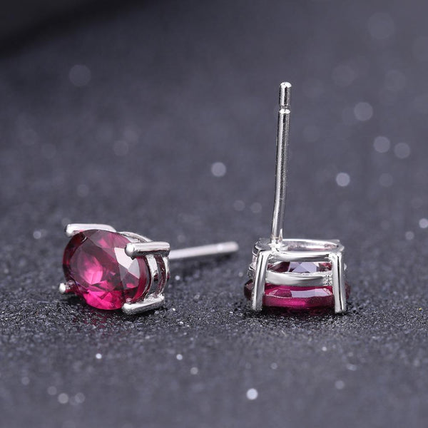 925 Sterling Silver 1.05Ct Oval Garnet Stud Earrings - Medusa Jewels