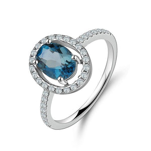 925 Sterling Silver Oval 1.5ct London Blue Topaz Ring - Medusa Jewels