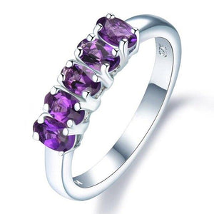925 Sterling Silver Amethyst Five-Stone Ring - Medusa Jewels