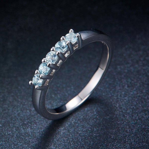 925 Sterling Silver Aquamarine Half Eternity Ring - Medusa Jewels