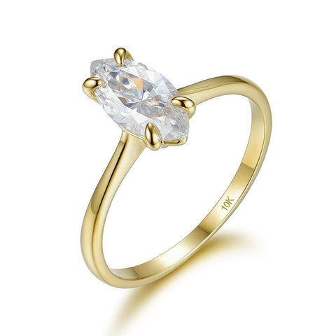 10K Yellow Gold Marquise Moissanite Ring