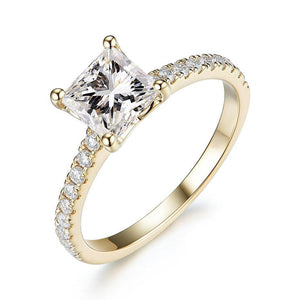 10K Yellow Gold 1.5Ct Princess Moissanite Ring