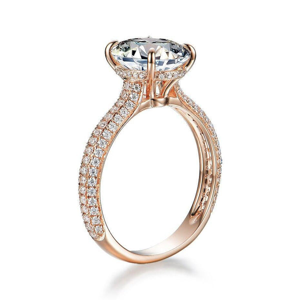 10K Rose Gold 5Ct Moissanite Solitaire Ring