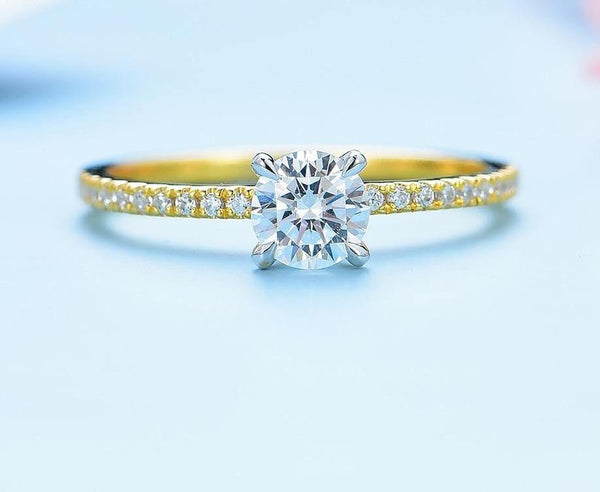 10K Yellow Gold Round Moissanite Solitaire Ring