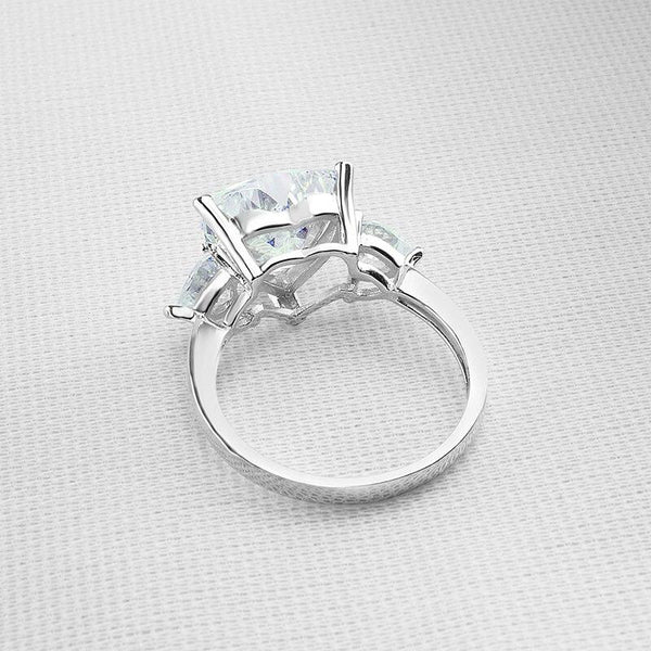 925 Sterling Silver 5Ct Heart Three-Stone Ring - Medusa Jewels