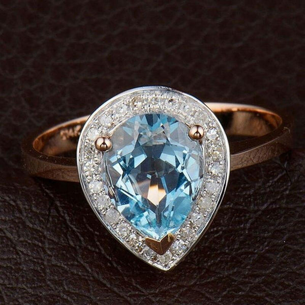 14Kt Rose Gold Pear Topaz & Diamond Vintage Ring - Medusa Jewels