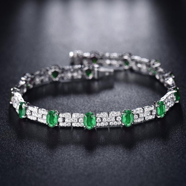 18K White Gold 7.61Ct Emerald & Diamond Bracelet - Medusa Jewels